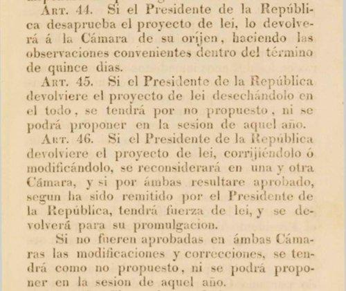 Extracto de la Constitución de 1833. Créditos: Senado de la República de Chile